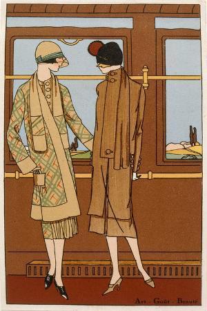 The Romance of Rail Travel, Fashion Plate from 'Art, Gout, Beaute', Pub. Paris, 1920'S