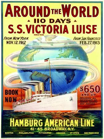 Around the World in 110 Days', Poster Advertising the Hamburg American Line, 1912