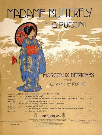 Front Cover of a Score Sheet for Extracts from 'Madame Butterfly' by Giacomo Puccini