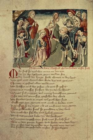 Siegfried Sees Kreimhild for the First Time, from the 'Hundeshagen Nibelungen Codex'