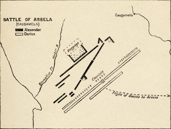 Map of the Battle of Gaugamela, from 'Atlas of Ancient and Classical  Geography, Published in 1928