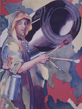 Ww1 French Military Camouflage Artist - a Camoufleur - Paints the Barrel of an Artillery Piece