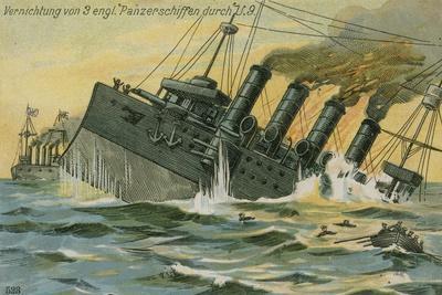 Destruction of Three British Warships by the German Submarine U-9, World War I, 22 September 1914