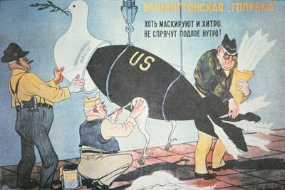 Soviet Cartoon Depicting the Usa Disguising its Nuclear Threat as the Dove of Peace