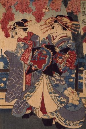 Two Women in a Flower Garden, by Utagawa Kunisada