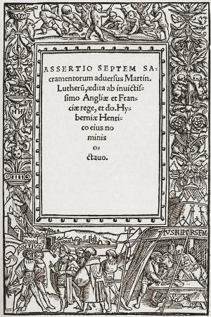 Title Page of Henry Viii's Book Against Luther