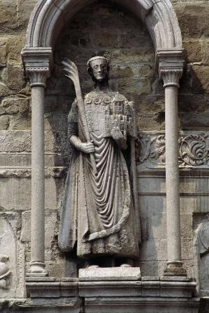 The Statue of San Giusto Above Entrance of Bell Tower