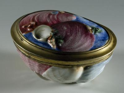 Oval Snuffbox Decorated with Sea Shells