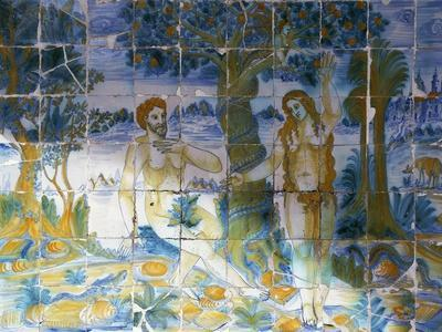 Tile Depicting Adam and Eve in Paradise