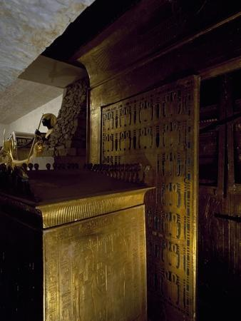 Gilded Wooden Catafalque and Box of Canopic Jars