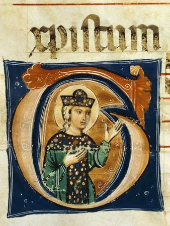 Initial Capital Letter G Depicting the Figure of a Saint