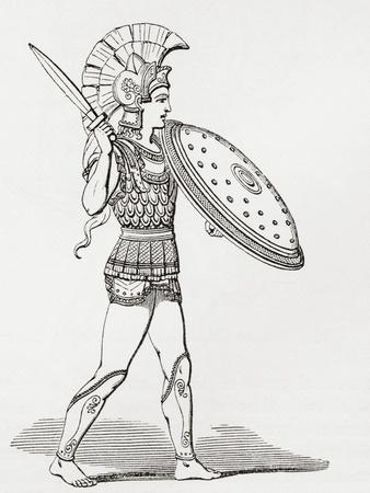 Helmeted Greek Warrior Wearing Greaves and Armour Holding a Clipeus Shield and Sword