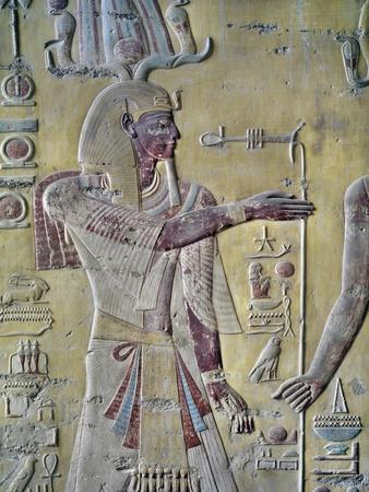 Tomb of Merneptah, Color Relief of Pharaoh in Atef-Crown, from Nineteenth Dynasty
