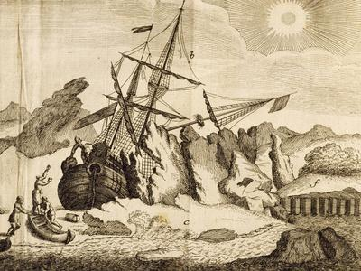 Ship Trapped in the Ice from Account of Frederick Marten's Expedition