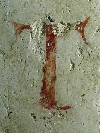 Letter T Painted Perhaps by St Francis in Interior of Chapel of Magdalene