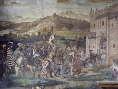 King Christian of Denmark Arriving at Malpaga Castle Being Greeted by Bartolomeo Colleoni