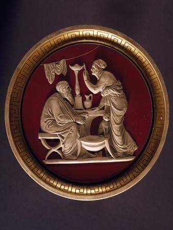 Medallion with Embossing Inspired by Work of Thorvaldsen and Depicting Allegory of Winter