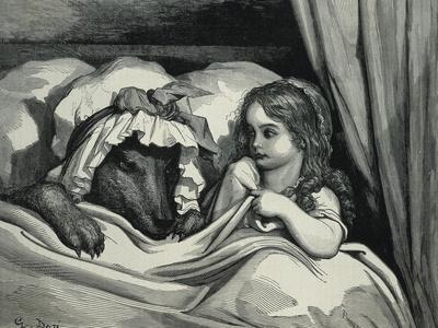 Little Red Riding Hood and Wolf Dressed as Her Grandmother