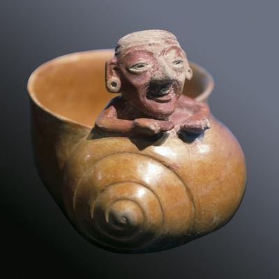 Snail Shaped Vessel with Figure of an Old Man