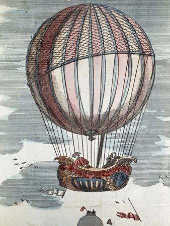 Montgolfier Brothers in a Hot-Air Balloon of the 18th Century