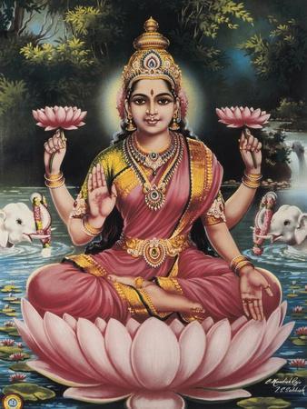 Hindu Goddess Srhi Sentamarai Laximi, Wife of Vishnu