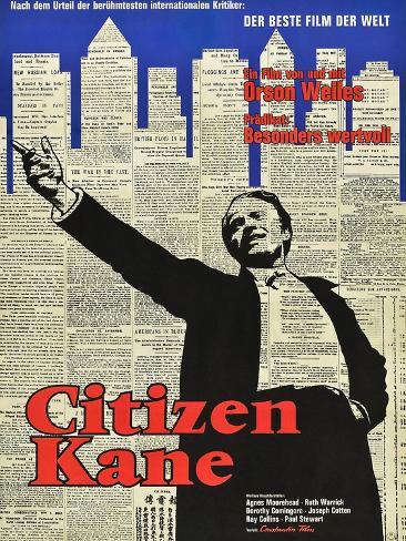 Vintage Movie advertising Poster reproduction. Black border Citizen Kane