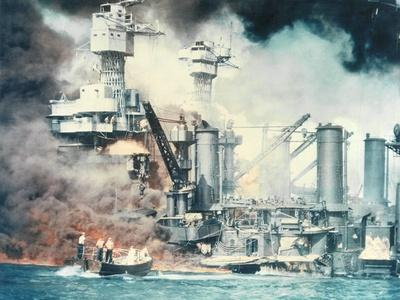 Thick Smoke Rolls Out of the Burning USS West Virginia During the Japanese Attack on Pearl Harbor