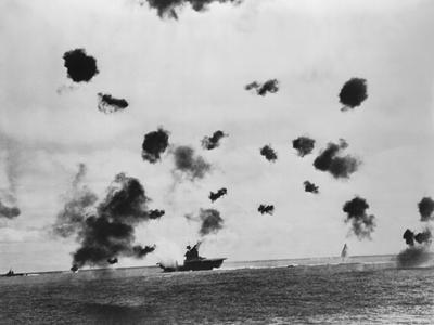 American Aircraft Carrier USS Yorktown Hit by a Japanese Bomb in the Battle of Midway