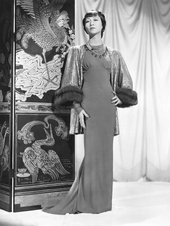 Anna May Wong in an Edith Head-Designed Crepe Dinner Gown with a Jacket of Emerald