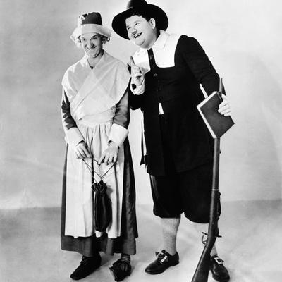 Stan Laurel and Oliver Hardy in a Thanksgiving-Themed Mgm Publicity Shot, Early 1930S