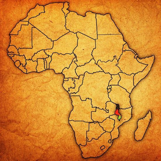 Malawi On Africa Map.Malawi On Actual Map Of Africa Print By Michal812 At Allposters Com