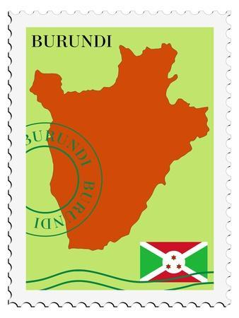 Stamp with Map and Flag of Burundi