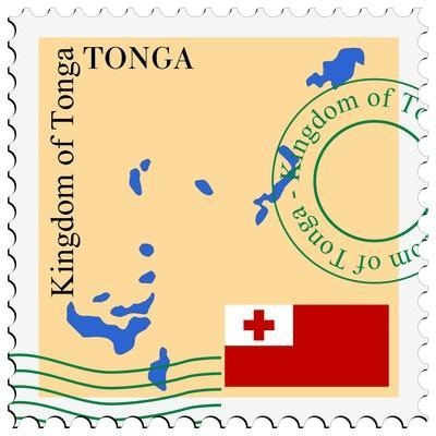 Stamp with Map and Flag of Tonga