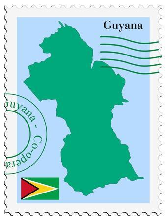 Stamp with Map and Flag of Guyana