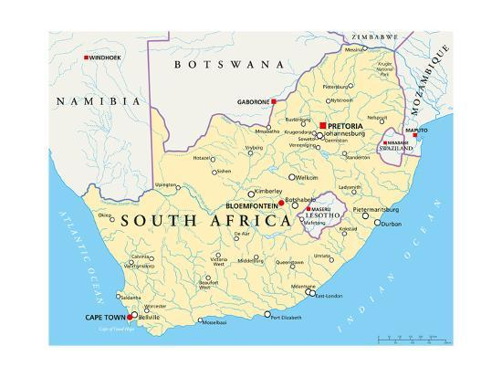 South Africa Political Map Poster By Peter Hermes Furian At