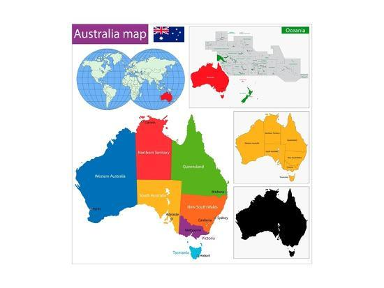 Australia Map With Main Cities.Colorful Australia Map With Regions And Main Cities