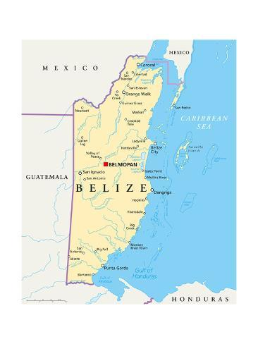 Belize Political Map.Belize Political Map Posters By Peter Hermes Furian At Allposters Com