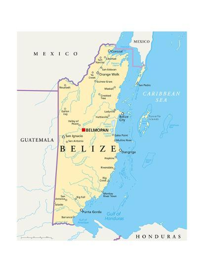 Political Map Of Belize.Belize Political Map Posters By Peter Hermes Furian At Allposters Com