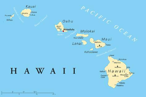 image about Printable Map of Hawaii named Hawaii Islands Political Map