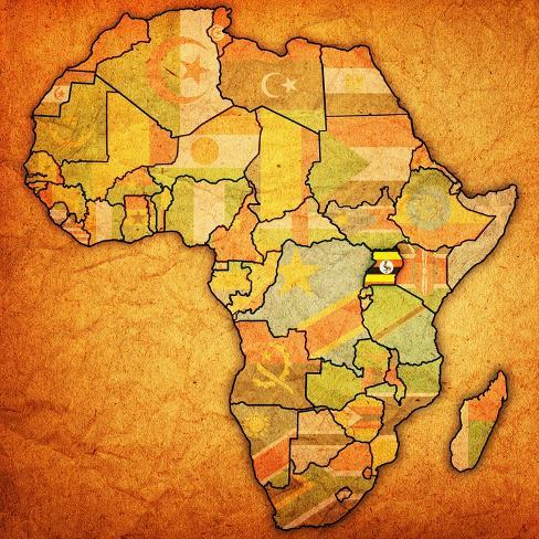 Uganda On Actual Map Of Africa Poster By Michal812 At Allposters Com