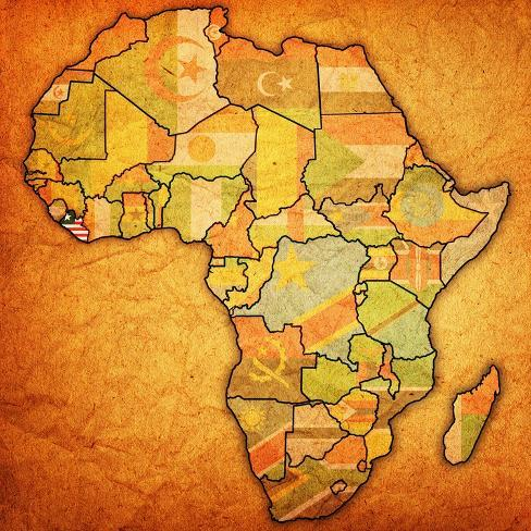 Liberia On Africa Map.Liberia On Actual Map Of Africa Posters By Michal812 At Allposters Com
