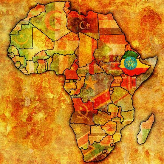 Ethiopia on Actual Map of Africa Posters by michal812 at AllPosters.com