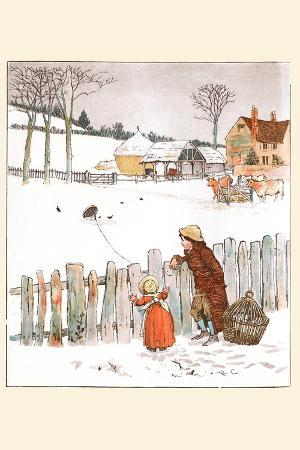 Four and Twenty Blackbirds; Children Look at Blackbirds in the Field of Snow