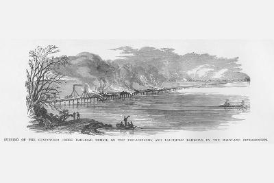 Maryland Secessionists Burn the B&O Railroad Bridge over Gunpowder Creek