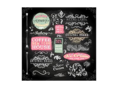 Set of Vintage Chalkboard Bakery Logo Badges and Labels for Retro Design. Chalkboard Illustration V