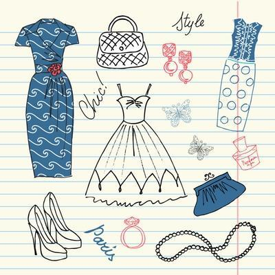 Summers Classics, Fashion Background with a Summer Dress, Shoes, Bag and Accessories