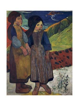 Two Breton Girls by the Sea by Paul Gauguin