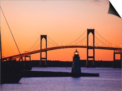 Newport Bridge and Harbor at Sunset, Newport, Rhode Island, USA