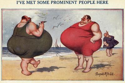 Overweight Men Smoking on the Beach