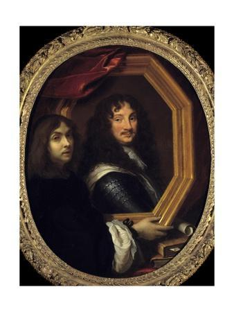 Portrait of the Artist Holding the Portrait of a Military by Charles Le Brun